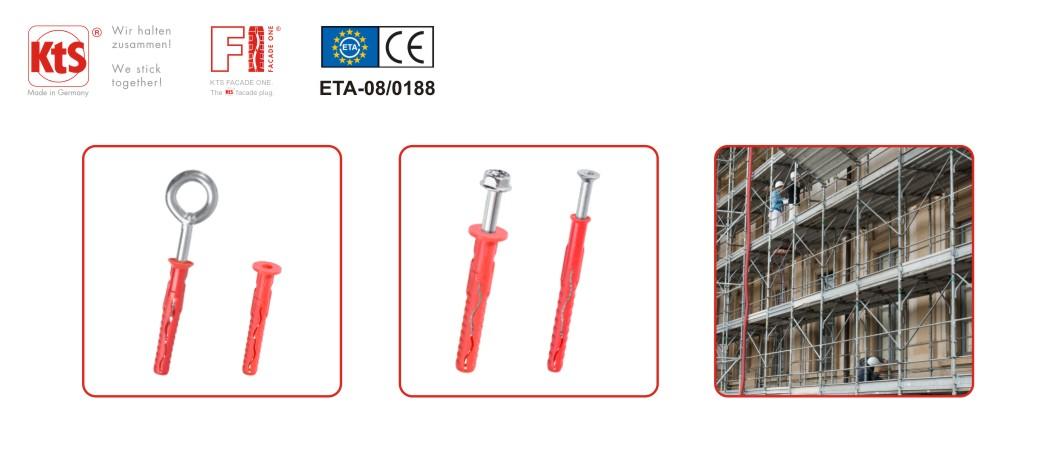 Zertifizierte Fassaden- und Gerüstdübel F1 von KTS